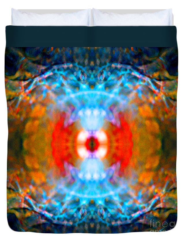 Rainbow Duvet Cover featuring the photograph End Times Mandala by Susan Bloom