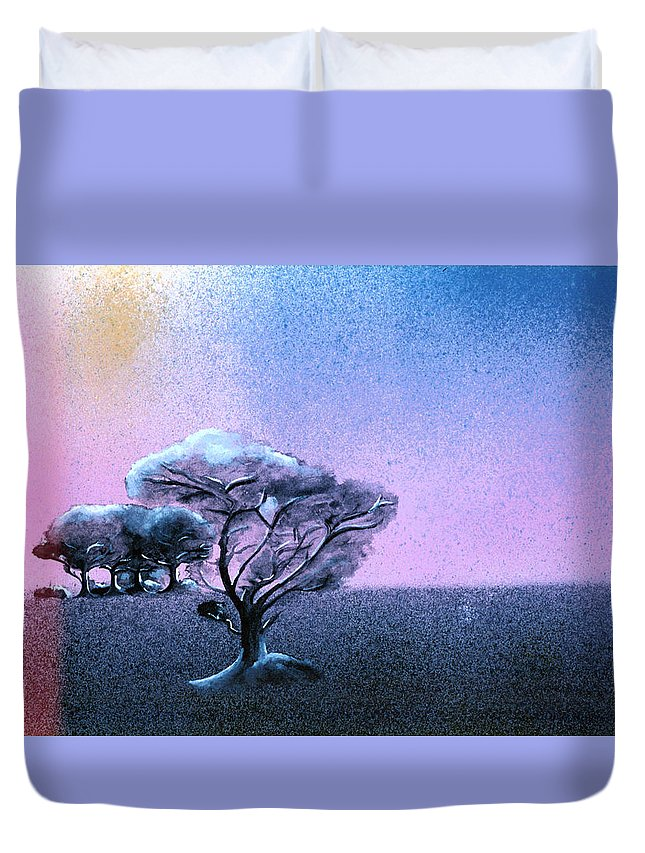 Night Duvet Cover featuring the painting Ending Night by Daniele Zambardi
