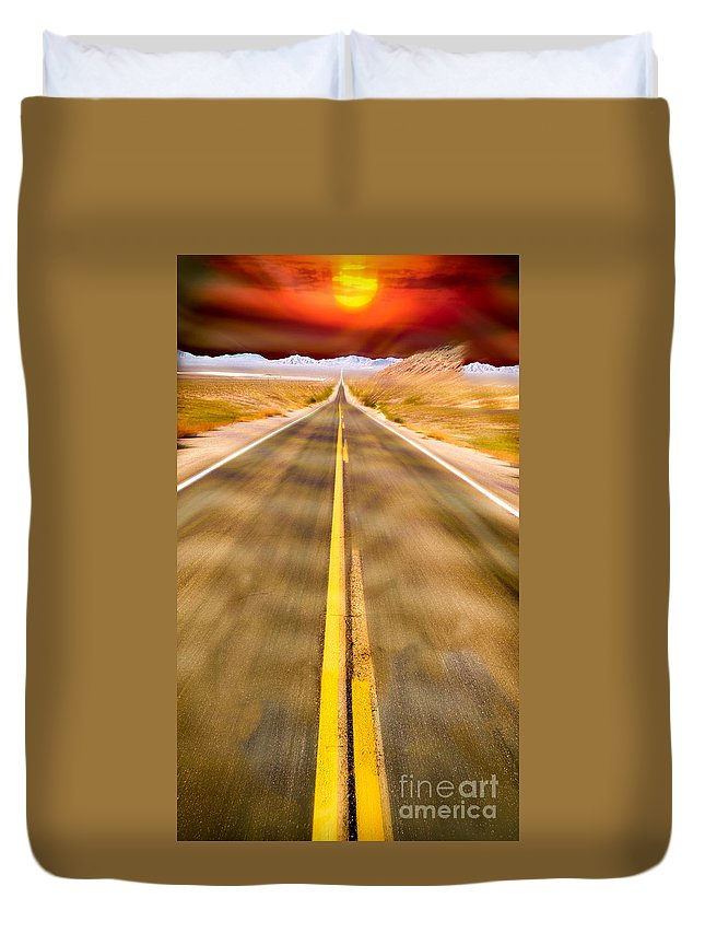 Desert Road Duvet Cover featuring the photograph Endless Road by Chuck Spang