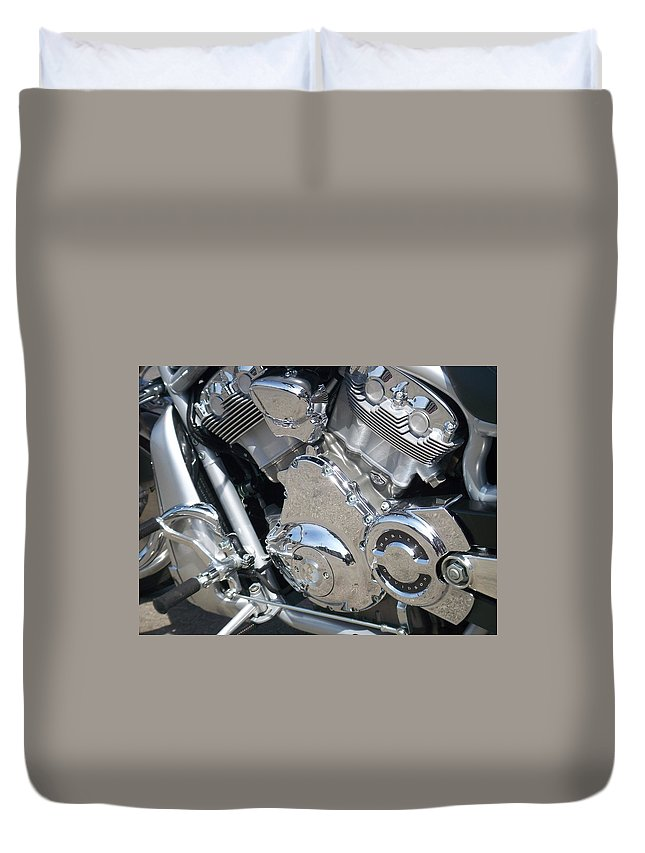 Motorcycles Duvet Cover featuring the photograph Engine Close-up 3 by Anita Burgermeister