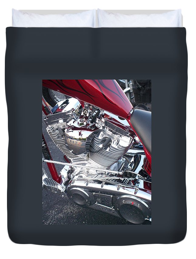 Motorcycles Duvet Cover featuring the photograph Engine Close-up 4 by Anita Burgermeister