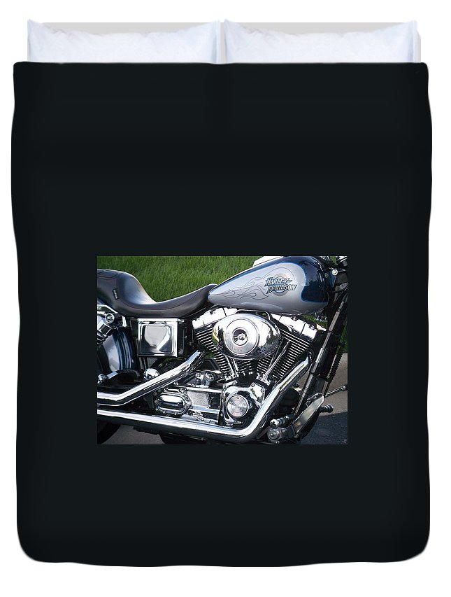 Motorcycles Duvet Cover featuring the photograph Engine Close-up 5 by Anita Burgermeister