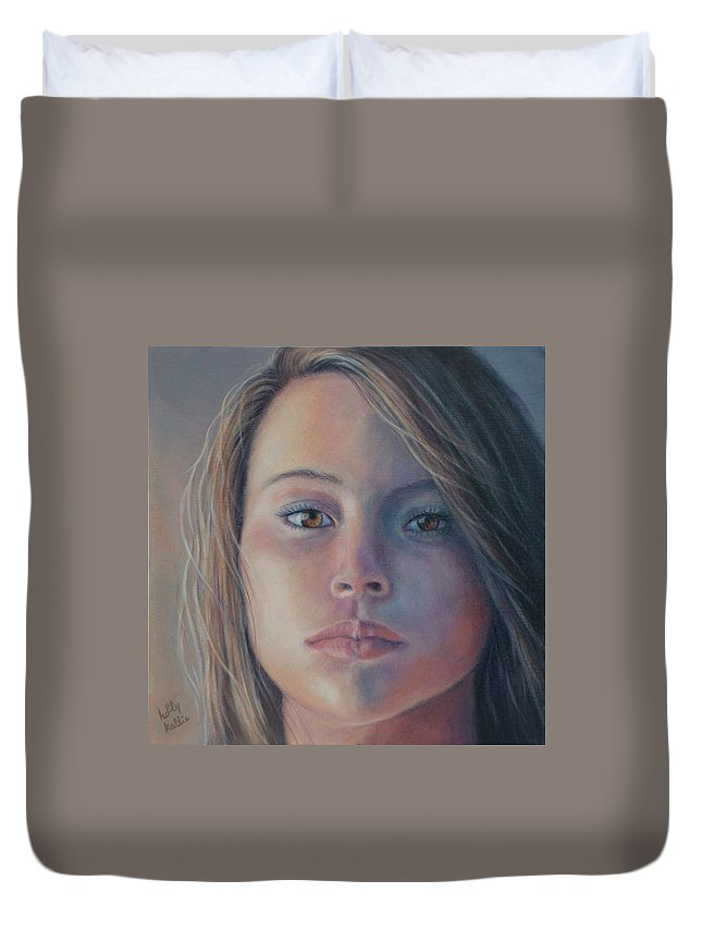 Portrait Of Young Woman Duvet Cover featuring the painting Enigma by Holly Kallie