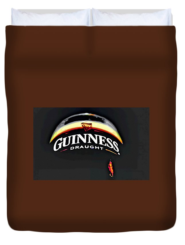 Beer Duvet Cover featuring the painting Enjoy Guinness by Florian Rodarte