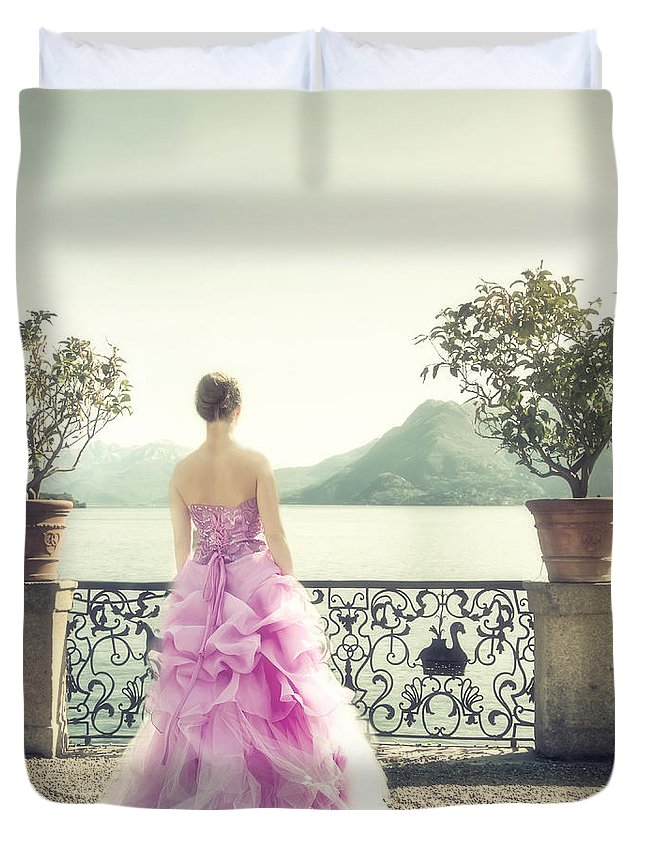 Woman Duvet Cover featuring the photograph enjoying Italy by Joana Kruse