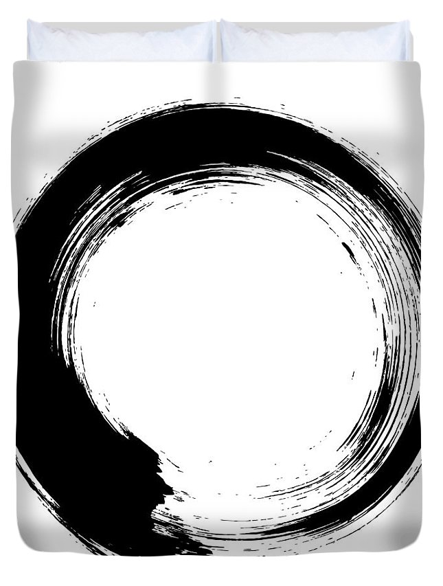 East Duvet Cover featuring the digital art Enso – Circular Brush Stroke Japanese by Thoth adan