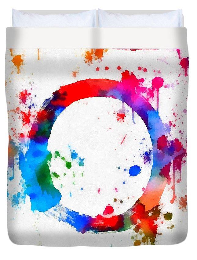 Enso Circle Paint Splatter Duvet Cover featuring the painting Enso Circle Paint Splatter by Dan Sproul