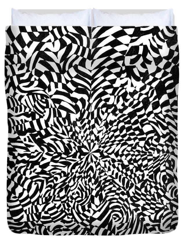 Abstract Duvet Cover featuring the drawing Entangle by Crystal Hubbard