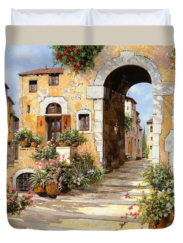 Cityscape Duvet Cover featuring the painting Entrata Al Borgo by Guido Borelli