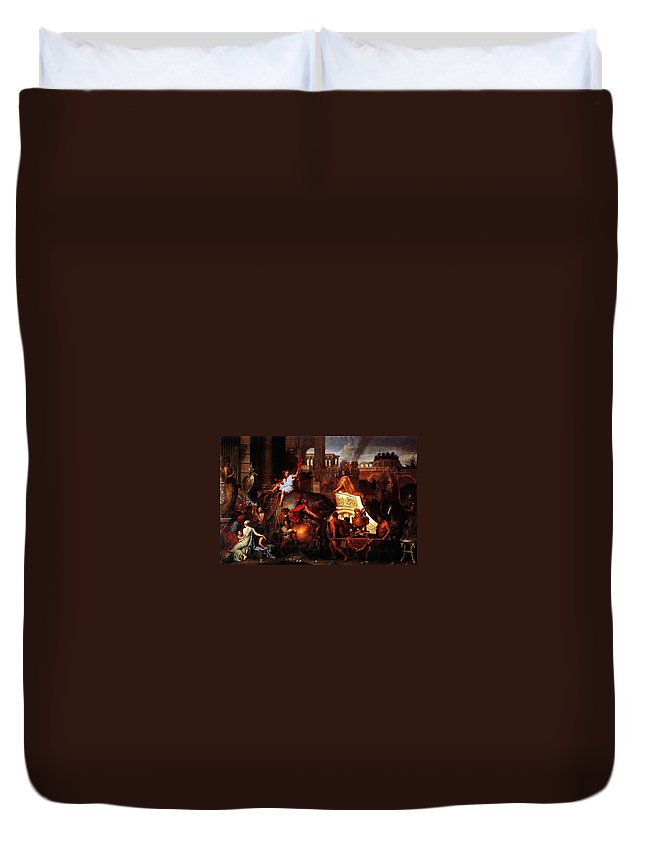 Entry Of Alexander Into Babylon Duvet Cover featuring the painting Entry Of Alexander Into Babylon by MotionAge Designs