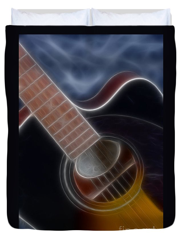 Epiphone Acoustic Guitar Duvet Cover featuring the photograph Epiphone Acoustic-9481-fractal by Gary Gingrich Galleries