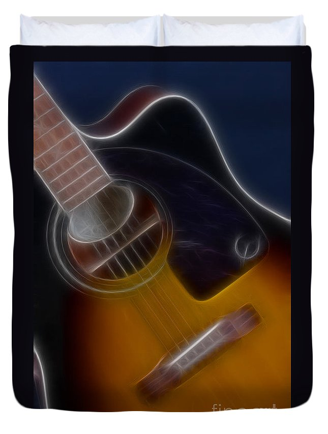 Epiphone Acoustic Guitar Duvet Cover featuring the photograph Epiphone Acoustic-9484-fractal by Gary Gingrich Galleries