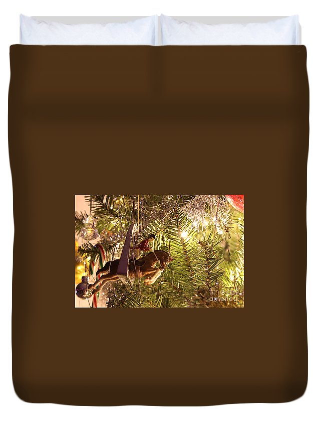 Christmas Duvet Cover featuring the photograph Equestrian Ornament by Janice Byer