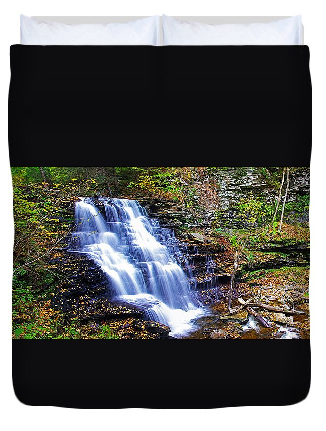 Pa Duvet Cover featuring the photograph Erie Falls Panorama by Rich Walter
