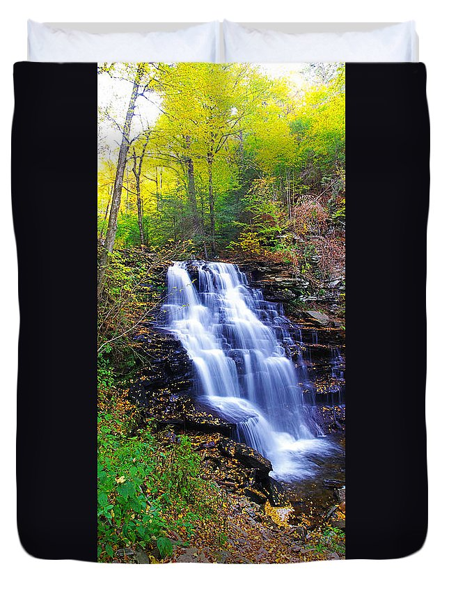 Pa Duvet Cover featuring the photograph Erie Falls Vertical Panoramic by Rich Walter