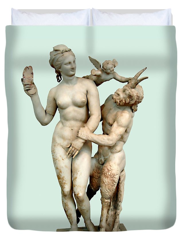 Aphrodite Duvet Cover featuring the photograph Aphrodite, Pan And Eros by Ellen Henneke