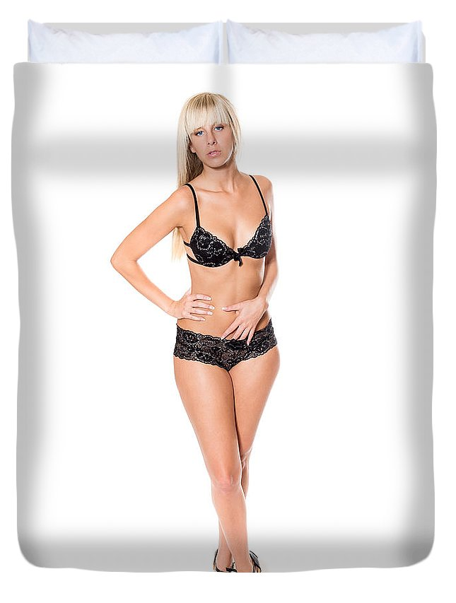 Woman Duvet Cover featuring the photograph Erotic Blonde by Jochen Schoenfeld