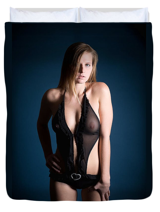 Woman Duvet Cover featuring the photograph Erotic Lingerie by Jochen Schoenfeld