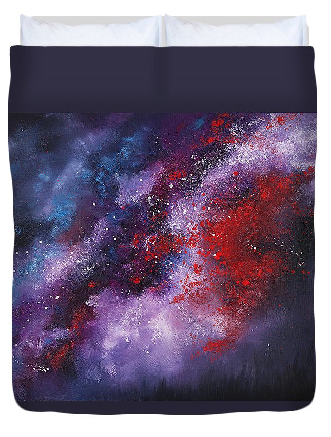 Oil Duvet Cover featuring the painting Erupt by Christopher Lyter