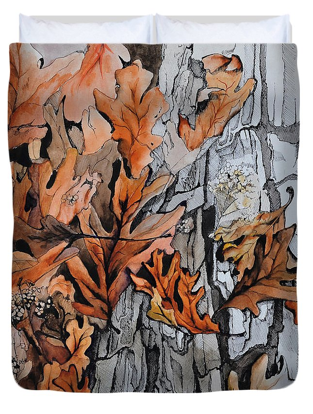 Abstract Duvet Cover featuring the painting Eruption I by Rachel Christine Nowicki