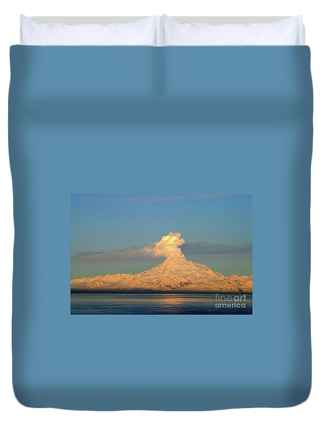 Mountain Duvet Cover featuring the photograph Eruption by Rick Monyahan