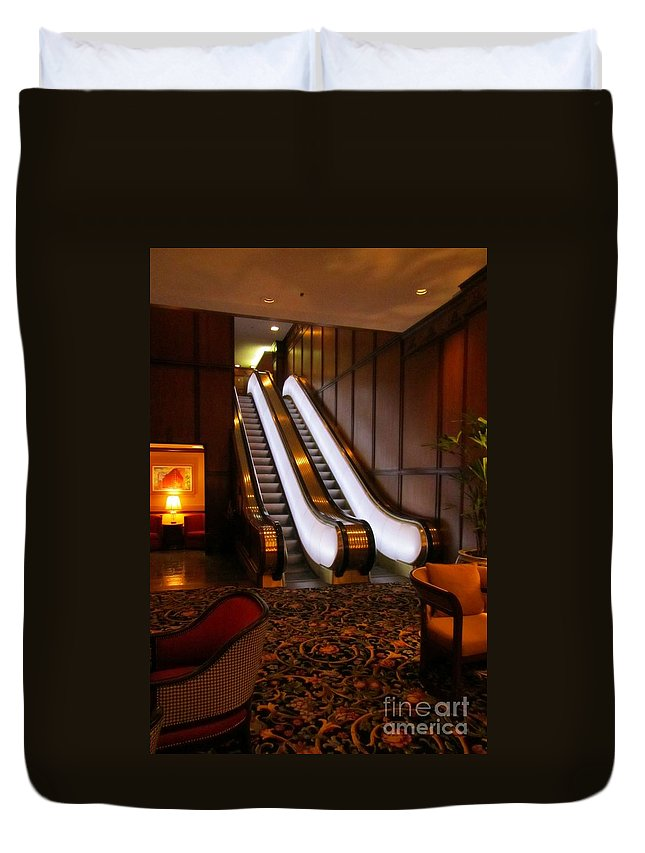Escalator Art Duvet Cover featuring the photograph Escalator In The Brown Palace by John Malone