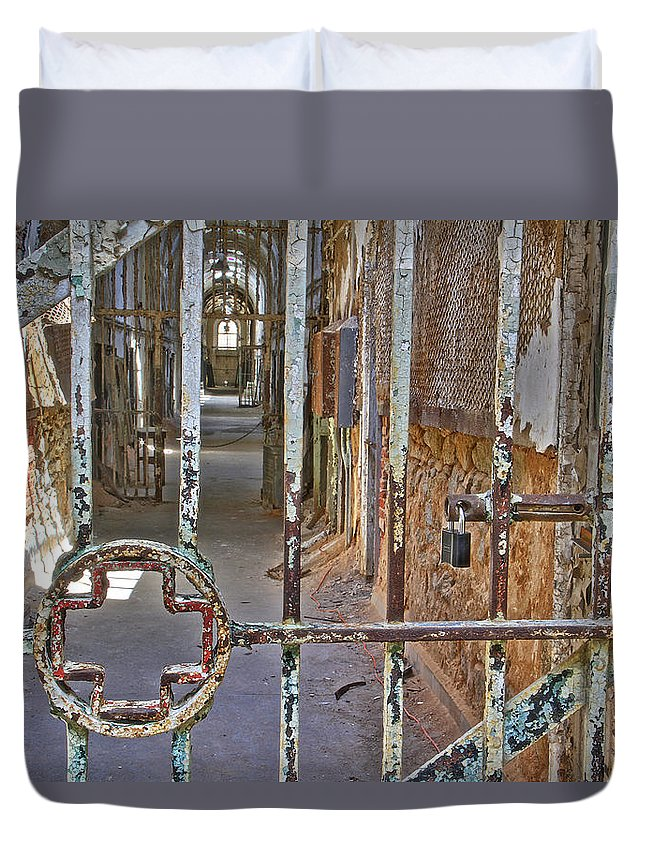 Eastern State Penitentiary Hospital Cross Ward Cell Duvet Cover featuring the photograph Esp Hospital Gate by Alice Gipson