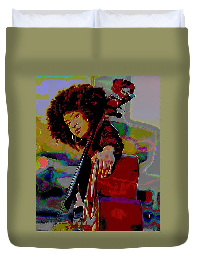 Esperanza Spalding Duvet Cover featuring the painting Esperanza Spalding by Fli Art