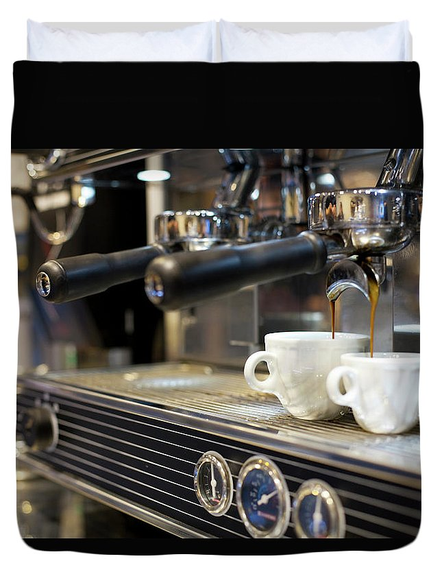 Making Duvet Cover featuring the photograph Espresso Machine Pouring Coffee Into by Kathrin Ziegler