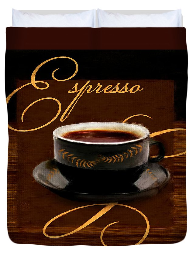 Coffee Duvet Cover featuring the digital art Espresso Passion by Lourry Legarde