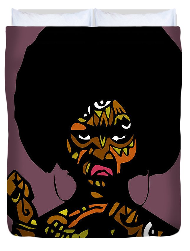 A Popstract Version Of A Beautiful Black Woman With Natural Hair Duvet Cover featuring the digital art Essence by Kamoni Khem