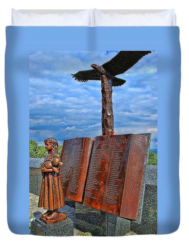 Memorial Duvet Cover featuring the photograph Essex County N J 9-11 Memorial 4 by Allen Beatty