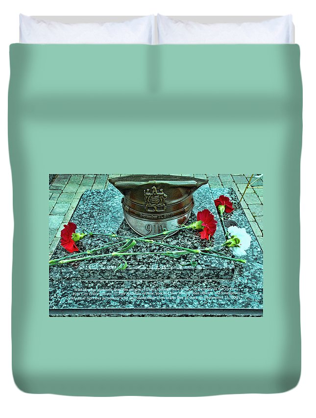 Memorial Duvet Cover featuring the photograph Essex County N J 9-11 Memorial 6 by Allen Beatty