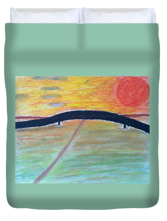 Duvet Cover featuring the painting Eternal Bridge by Michael Woolcock