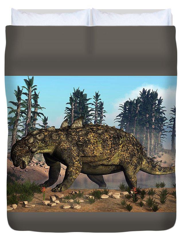 Dinosaur Duvet Cover featuring the photograph Euoplocephalus Dinosaur Grazing by Elena Duvernay