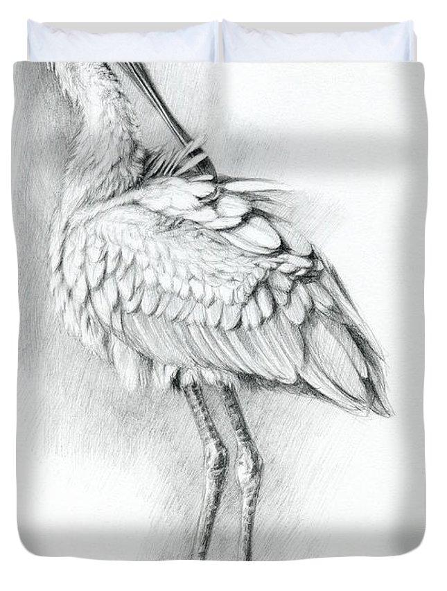 Bird Duvet Cover featuring the drawing Eurasian Spoonbill - Platalealeucorodia by Svetlana Ledneva-Schukina