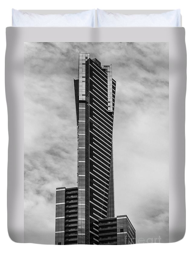 Melbourne Australia Eureka Tower Towers Building Buildings Structure Structures City Cities Cityscape Cityscapes Skyscraper Skyscrapers Architecture Black And White Landmark Landmarks Duvet Cover featuring the photograph Eureka Tower 2 by Bob Phillips