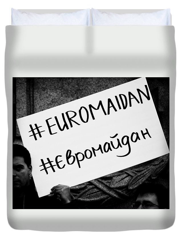 Street Photography Duvet Cover featuring the photograph Euromaidan by The Artist Project