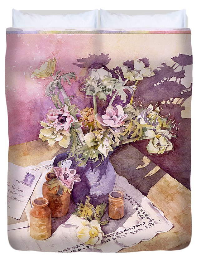 Julia Rowntree Duvet Cover featuring the photograph Evening Anemones by Julia Rowntree