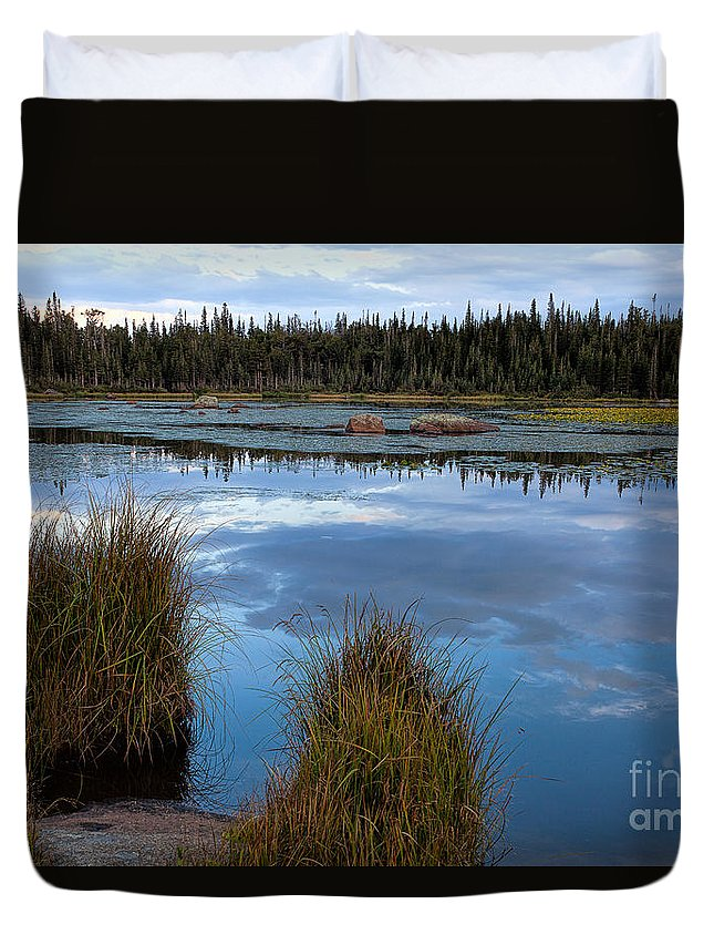 Red Rock Lake Photograph Duvet Cover featuring the photograph Evening Calm by Jim Garrison