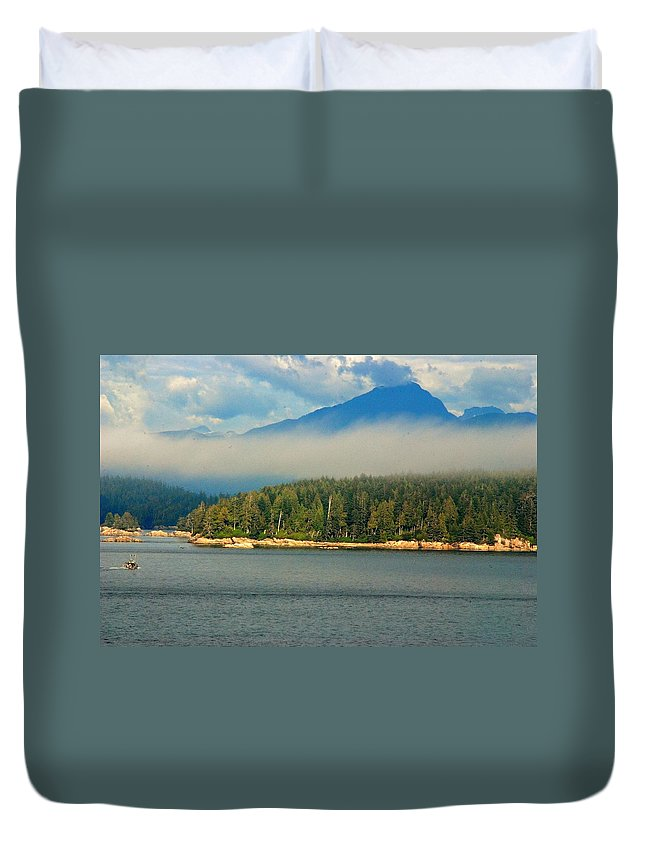 Outdoors Duvet Cover featuring the photograph Evening Fog by John Schneider