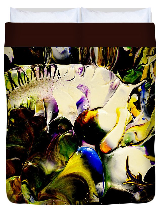 Abstract Duvet Cover featuring the painting Botanical # 1213 by Antonia Lazaki