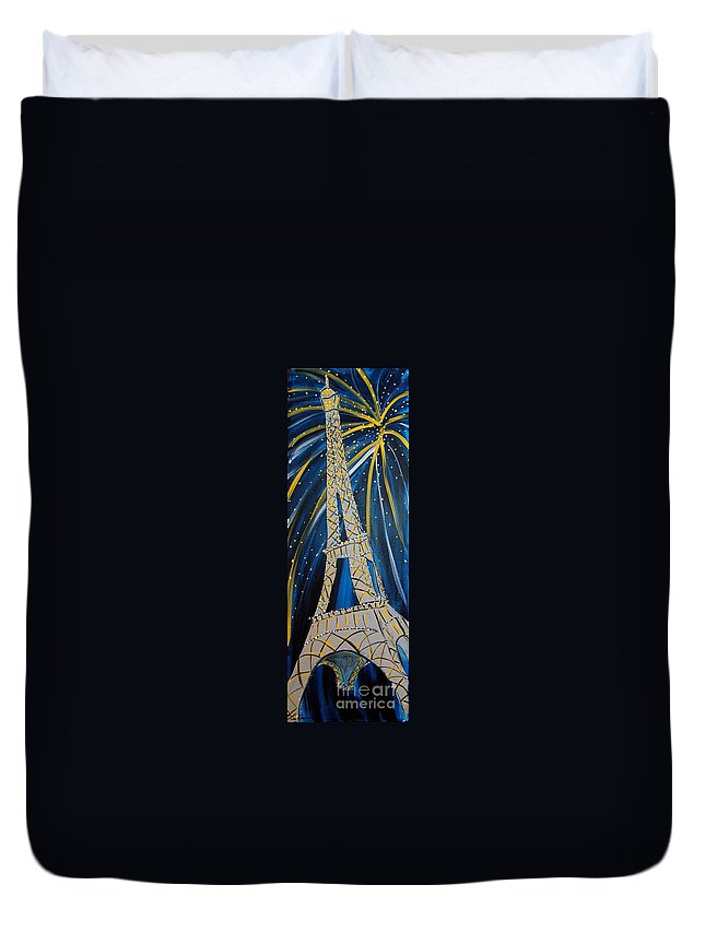 Eiffel Tower Duvet Cover featuring the painting Evening In Paris by Lee Owenby
