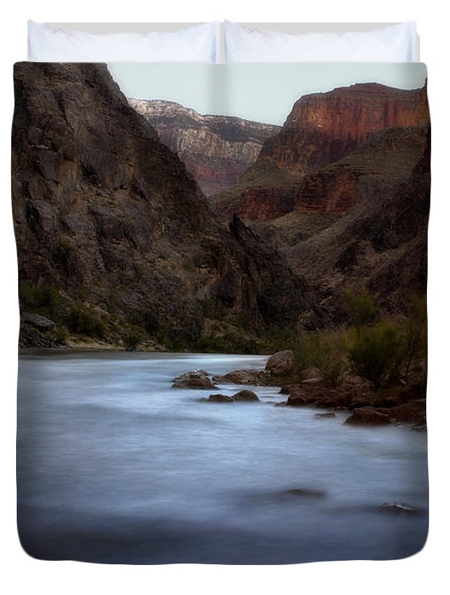 Grand Canyon Duvet Cover featuring the photograph Evening In The Canyon by Ellen Heaverlo