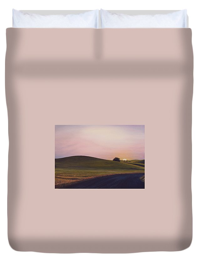 Wheat Duvet Cover featuring the painting Evening Near Viola by Leonard Heid