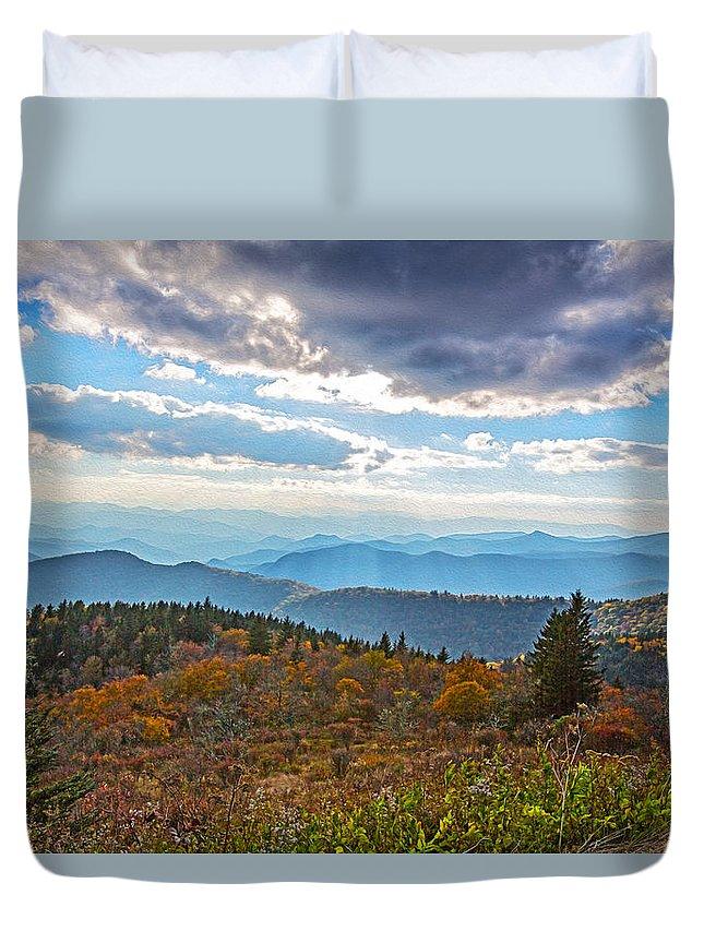 Blue Ridge Parkway Duvet Cover featuring the painting Evening On The Blue Ridge Parkway by John Haldane