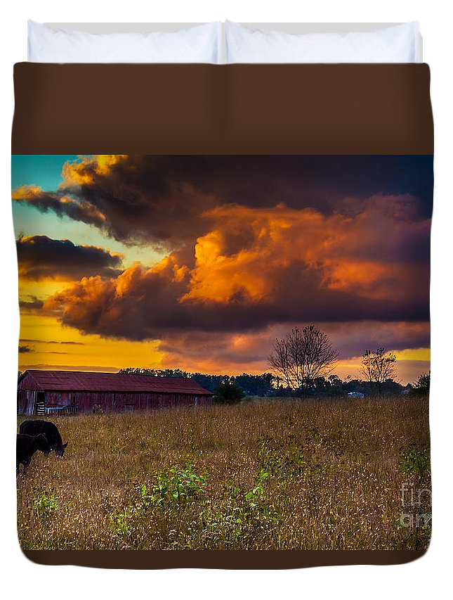 Rural Duvet Cover featuring the photograph Evening On The Farm Five by Ken Frischkorn