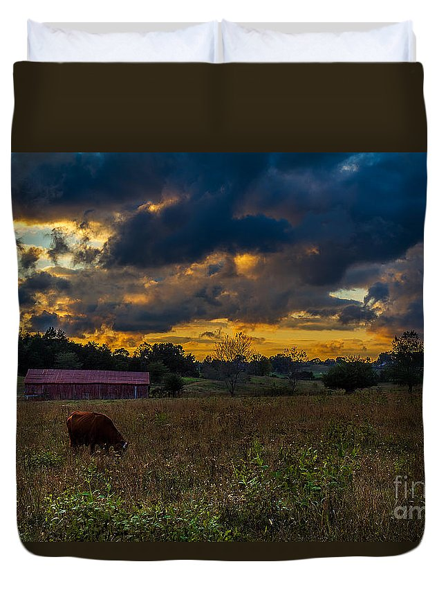 Rural Duvet Cover featuring the photograph Evening On The Farm One by Ken Frischkorn