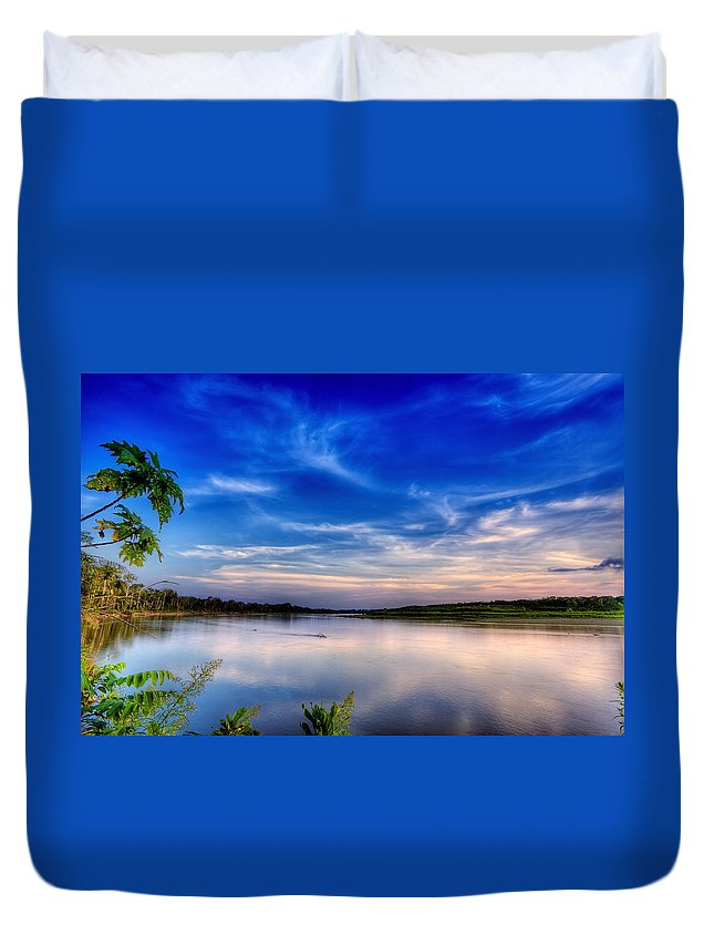 River Duvet Cover featuring the photograph Evening On The River by Alexey Stiop
