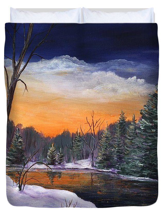 Interior Duvet Cover featuring the painting Evening Reflection by Anastasiya Malakhova